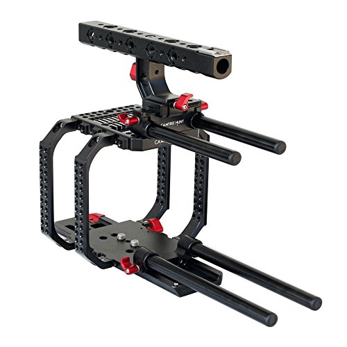 (CAMTREE Hunt Camera cage for Red Scarlet 15mm Rail Rod Tripod mounting Base Plate for Video Movie Making Film Shoot Photography (CH-RSE-CC))