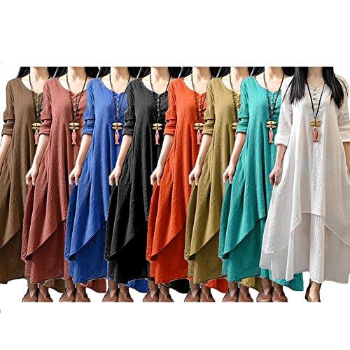 Vintage Manches Long Color Ethnique Robe Robe Robe Casual Dames Longues D't Col Faux V Vert Manche Mid Pices Couche Femmes Double Style Pure Courte Deux ZnXxwZO