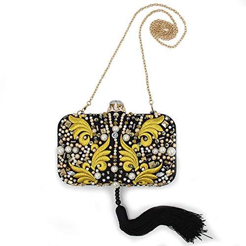Tote Evening Pearls Handbag Women's Bags Classic Qztg Cross Body Bag Handbags Black Crystals Tassel Large Terylene Capacity wd0vqx5xEI
