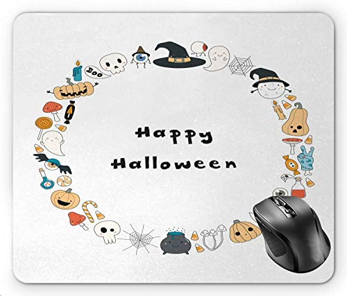 BGLKCS Halloween Happy Halloween Spooky Theme Pumpkin Ghosts Spider Web Line Drawing Circle Frame, Multicolor Mouse Pad 8.6 X 7.1 in