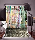 Leyiyi Vinyl 3x5FT Photography Backdrops Wood Floor Graffiti Style Wall Photo Background Studio Props