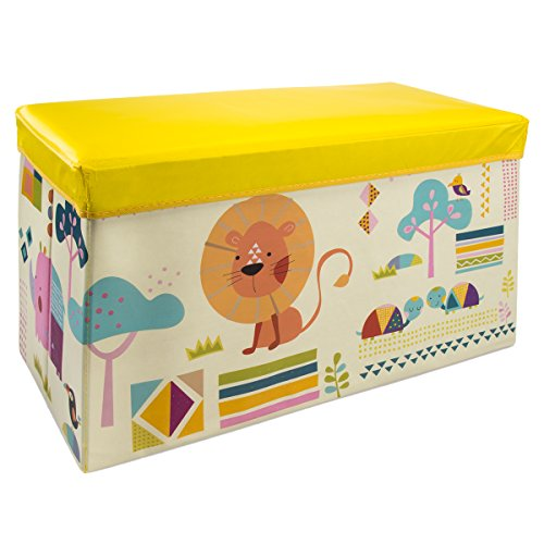 DG Fun Times Kids Storage Bench Ottoman Collapsible Toy Chest Foldable Bin Playroom Trunk Seating
