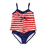Azul Baby Girls Red White Stripe In The Navy Open Tankini 2 Pc Swimsuit 12M