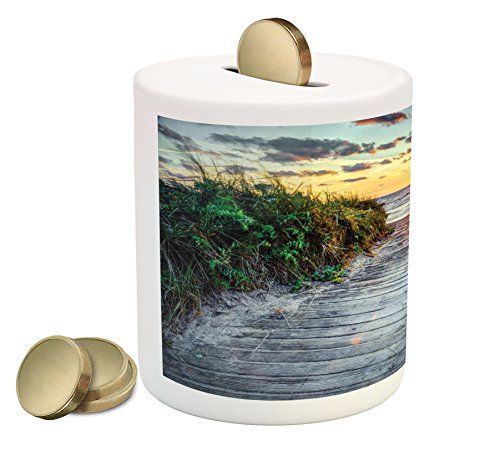 Lunarable Beach Piggy Bank  Sunrise At The Seacoast Board Footpath Seascape Peaceful Morning View Scenery Grass  Printed Ceramic Coin Bank Money Box For Cash Saving  Multicolor