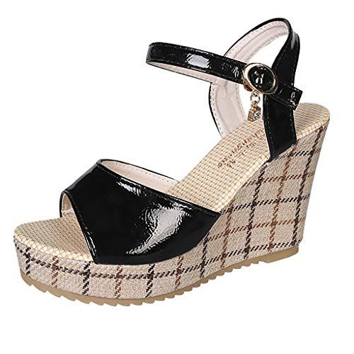 Diamante Spoiler - Realdo Women Casual Wedge Sandals Thick-Soled Sponge Platform Buckle High-Heeled Pu Shoes