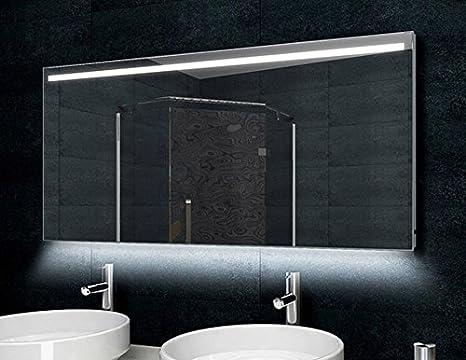 Specchio bagno cornice di alluminio 140 x 60 cm luce led: amazon