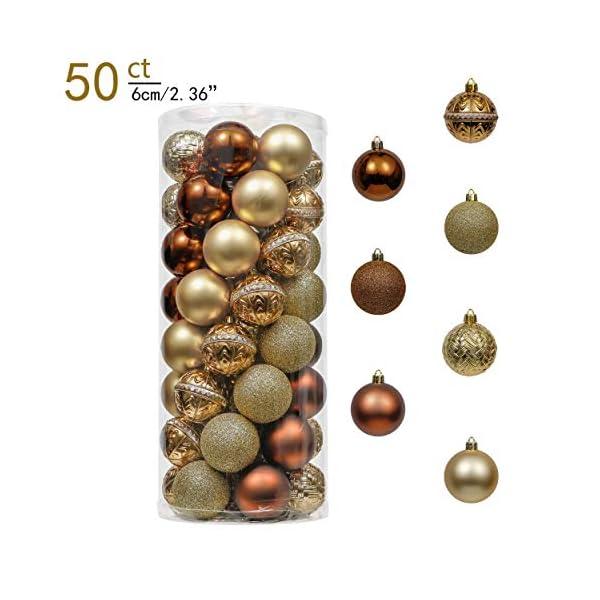 Valery Madelyn Palle di Natale 50 Pezzi 6 cm Palline di Natale, Rame Essenziale e Oro, Ornamenti di Palla di Natale Infrangibili di Base per la Decorazione Dell'Albero di Natale 2 spesavip