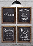"bathroom wall decor ideas Bathroom Wall Decor - Bathroom Sayings and Phrases Art Prints - Set of Four 8""x10"" Prints - Great Home Decor Gift Idea (set#2)"