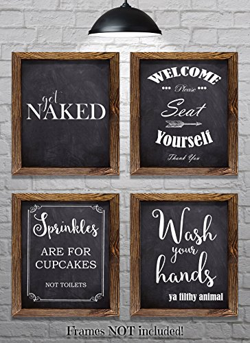 "Bathroom Wall Decor - Bathroom Sayings and Phrases Art Prints - Set of Four 8""x10"" Prints - Great Home Decor Gift Idea (set#2)"