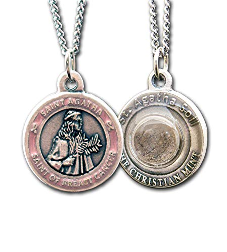 The Christian Mint, LLC St Agatha Patron Saint of Breast Cancer Medal with Capsule of Catania Soil - Includes 18
