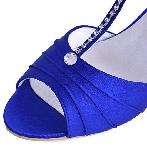 ElegantPark EL-035 Mujer Sandalias Punta Abierta Tacón Bajo Rhinestones Satin Zapatos de Vestir Baile Noche Azul