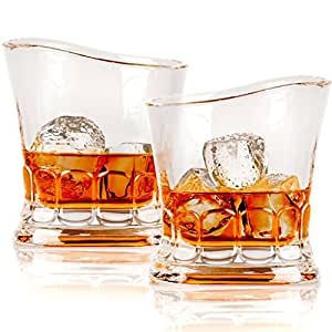 Whiskey Scotch Glass, European Design by Fifth & Fox - Set of 2 Crystal Drinking Glasses in Luxury Gift Box - Ultra Clarity, 100% Lead-Free Glassware for Bourbon on the rocks, for Men & Women