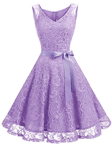 Dressystar DS0010 Floral Lace 2017 Bridesmaid Party Dress Short Prom Dress V Neck XL Lavender