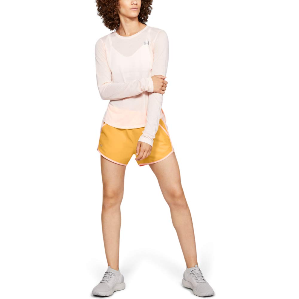 Under Armour womens Fly By Running Shorts, Mango Orange (492)/Reflective, Small by Under Armour