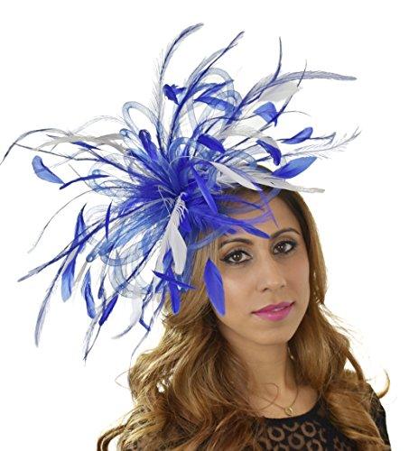 Gorgeous Devastator White & Royal Blue Ascot Derby Fascinator Hat - with Headband