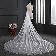 Zebratown 3M One Layer Elegant White Lace Bridal Veil with Comb Long Wedding Veil