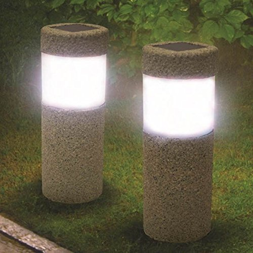 Vanilla Square Pillar (Solar Power Stone Pillar White LED Lights Garden Lawn Courtyard Decoration Lamp)
