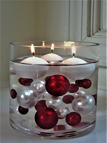 Red Rectangular Vases - 95 Jumbo Assorted Sizes Red & White Pearls with Gems Accents Vase Fillers for Centerpieces - To Float the Pearls, Order with Transparent Water Gels