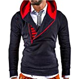 Fashion Hoodies Sweaters,ZYooh Men Letter Printed Long Sleeve Pover Slim Fit Hooded Sweatshirt with Zipper (L, Dark Gray)