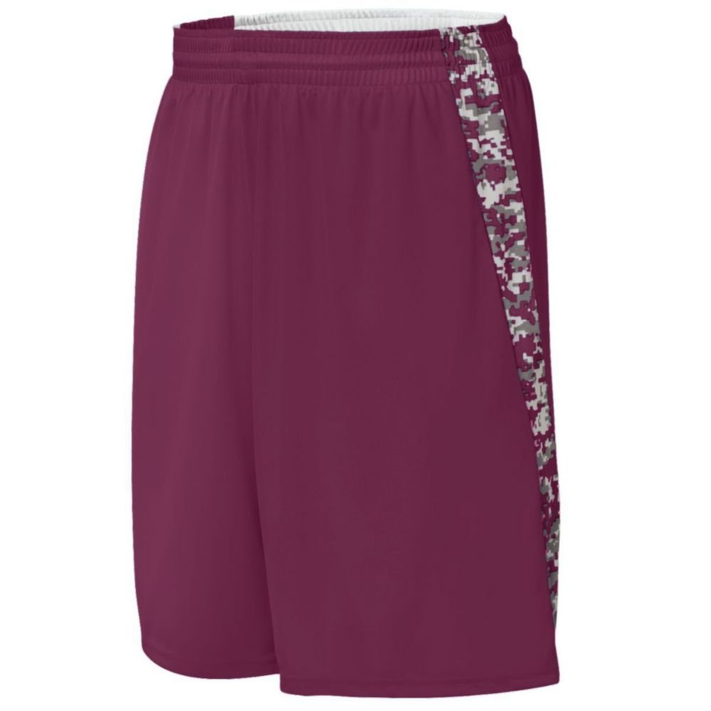 Augusta Activewear Hook Shot Reversible Short, Maroon/Maroon Digi, XX Large by Augusta Activewear