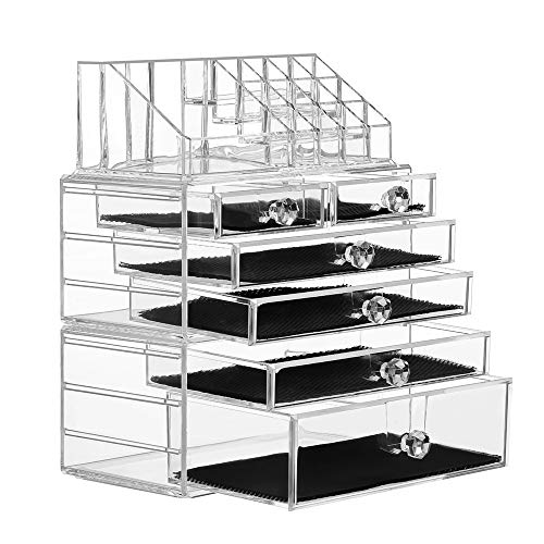 SANNO Organiser Acrylic Cosmetics Jewelry Storage Case X-Large Display Sets-Interlocking Scoop Drawers to Create Your Own Specially Designed Makeup Counter-Stackable and Interchangeable, Clear ()