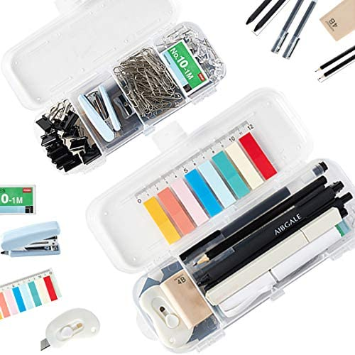 123 Pcs Office Supplies Kit with Storage Container, Scissors,Pens Pencil ,Metal Binder Clips, Paper Clips, Rubber ,Stapler,Page Markers, Push Pins, for Home, Office, School, etc.