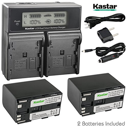 Bp 945 Compatible Battery - Kastar LCD Dual Fast Charger + 2x Battery for Canon BP-970G BP-975 & EOS C100 EOS C100 Mark II EOS C300 C300 PL EOS C500 C500 PL GL2 XF100 XF105 XF200 XF205 XF300 XF305 XH A1S XH G1S XL H1A XL H1S XL2