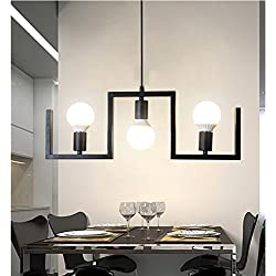 Pendant lights Pendant Lamp Industrial Retro Wrought Iron Chandelier E27 3 Living Room Dining Room Bedroom Study Lamp (Color : Yellow Light)