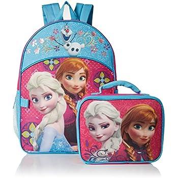 Disney Girls Frozen Elsa & Anna Backpack with Detachable Lunch Bag, Hot Pink/