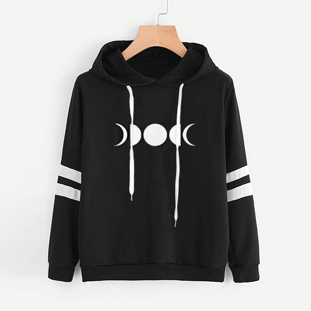 HOOUDO Sweatshirts Womens,Autumn Winter Sale Casual Round Neck Solid Moon Print Loose Pullover Hooded Jumper Shirts Tops Blouse