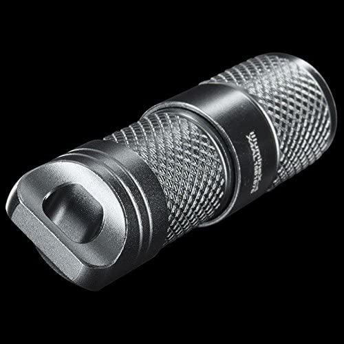 Image of a MecArmy keychain flashlight in silver color and rugged body design.