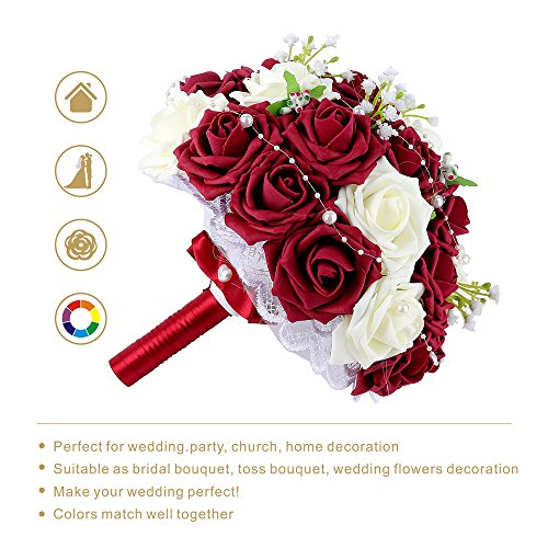 Wedding Bridal Bouquet, Febou Wedding Bride Bouquet, Wedding Holding Bouquet with Artificial Roses Lace Pearl Ribbon, Perfect for Wedding, Church, Party and Home Decor(Heart Pearl, White+Dark Red)