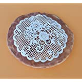 """Edible Lace 2 PC Handcraft 7"""" Round Vintage Embroidery Flower Bouquet Doily Cake Lace, Sugar Lace Vanilla White Topper -Ready to Use Edible Lace"""