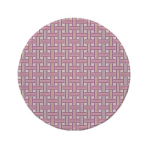 Non-Slip Rubber Round Mouse Pad,Geometric,Crossed Stripes Bold Lines Bands Lattice Mesh Like Pattern Classical,Pink Magenta Peach,11.8