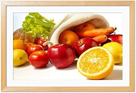 木製の枠 ズックの印刷する絵画 家の壁の装飾画 ポスター (30x40cm 材木色) 果物と野菜