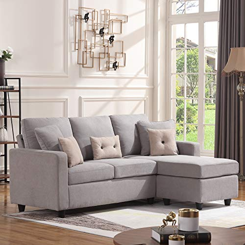 HONBAY Convertible Sectional Sofa Couch, L-Shaped Couch with Modern Linen Fabric for Small Space Light Grey (Futon Sofa Bed With Chaise)