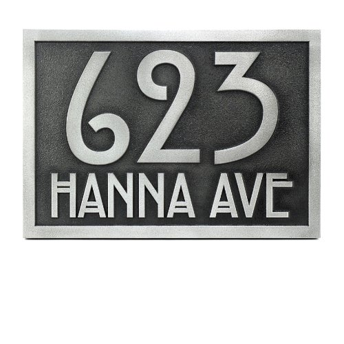 Stickley Address Plaque 12.5x8.75 - Raised Pewter Coated by Atlas Signs and Plaques