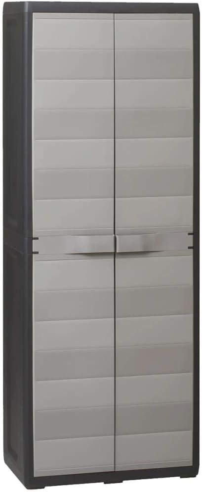 Armario alto de jardín, Armario de Exterior con 3 Estantes ajustable, Armario de almacenamiento de Plástico 65 x 38 x 171 cm, Negro+Gris