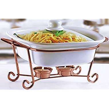 Circleware Ceramic Cookware Chafer Buffet Server/warmer/baker Serving Tray with Glass Lid and Copper Serving Stand, 1.5 Quart, 10  W x 8.5  D x 5  H, Limited Edition Serveware Cookware Bakeware
