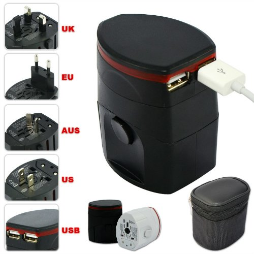 Price comparison product image First2savvv Luxury Universal Worldwide Travel Power Adaptor and USB Charger - African / European / American / Australian / Holiday Plug Adapter - Covers Over 150 Countries for HP 7 Plus G2 Tablet HP Slate 8 Pro HP Omni 10 Tablet HP Slate 10 HD ARCHOS 80 helium ARCHOS 101 copper
