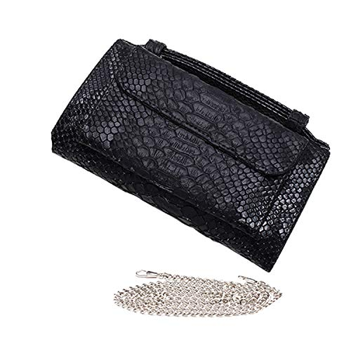 Luxury Genuine Python Leather Hand Bags Cross Body Shoulder Bag Snakeskin Designer Day Clutch Chain Crossbody Bag,Black