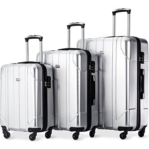 - Merax Luggage 3 Piece Set P.E.T Luggage Spinner Suitcase Lightweight 20 24 28inch (Space Silver)