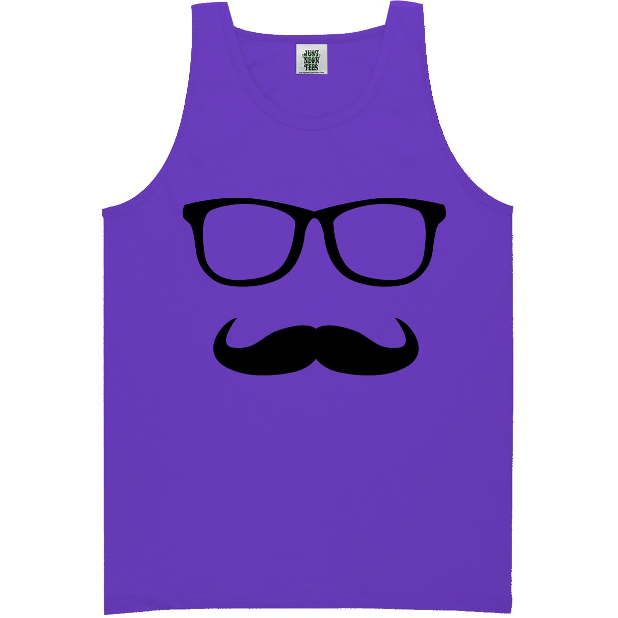 6 Bright Colors ZeroGravitee Youth Mustache and Glasses Bright Neon Tank Top