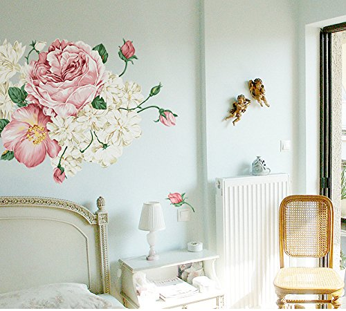 Mr.S Shop Wall Sticker DIY Bloom Peony Flowers Antique Style Removable Wall Stickers Decals Home Decoration For Liveing Room Bedroom (Peony Wall)