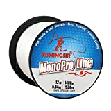 FISHINGSIR 35 LB High Impact Fishing Line Monofilament Super Clear Smooth Nylon Mono Long Casting Fishing Line