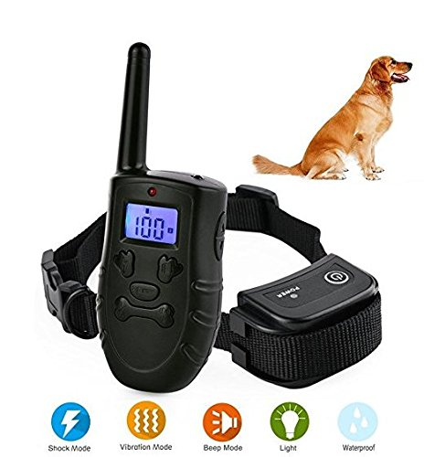 Dog Shock Training Collar ONEVER LCD Electric Remote Training Shock Collar with 300M Remote Control 99 Levels of Vibrating Shock with Sound Light Mode Waterproof IP67 for All Size Dogs