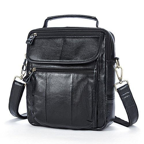 Present Adjustable Messenger Bag Mens Unisex Handmade Shoulder Detachable handle Birthday With Backpack Black Satchel First Leather Small Zhhlaixing Top Gift Cowhide Lightweight And Strap TBFwwqP