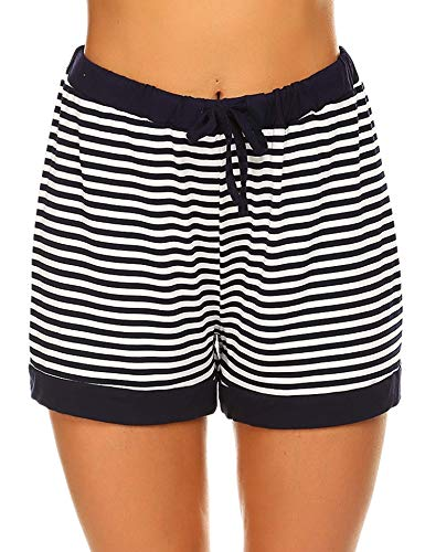 Blue Striped Boxer - Ekouaer Women's Striped Pajama Cotton Sleep Shorts Lounge Boxer Blue S