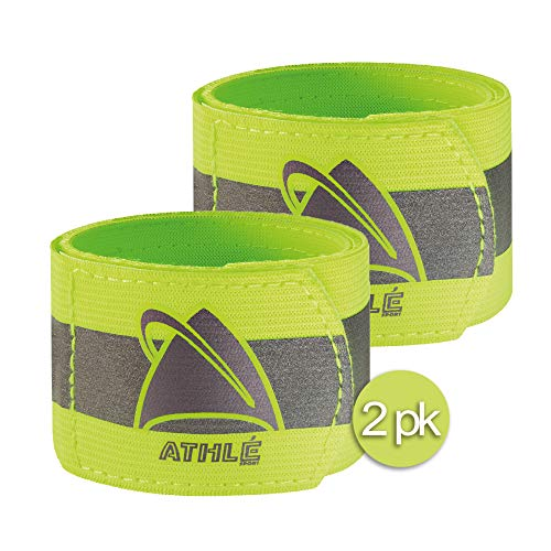 Athlé Reflective Bands 2 Pack – Adjustable 16 Neon Yellow Straps for Wrist, Arm and Ankle - High Visibility Safety Gear for Running, Jogging, Cycling and Biking - Bonus Carrying Bag