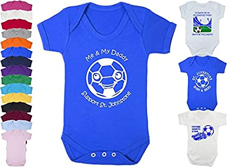 Hat-Trick Designs St Johnstone Football Baby Romper Sleep Suit-White-Id Rather Be-Unisex Gift